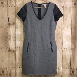 Banana Republic Faux Leather Trim Shirt Dress
